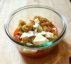 Image de Crème de poivrons quinoa chorizo chèvre